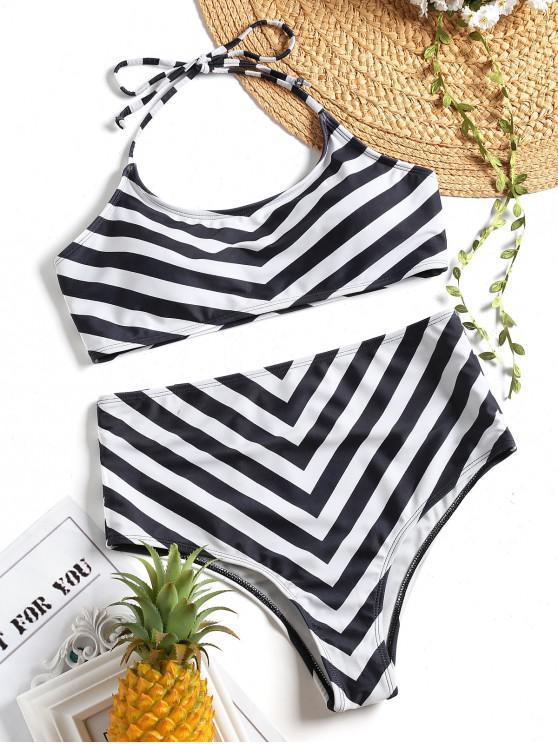 women Halter High Waisted Zig Zag Bikini Set - WHITE AND BLACK M