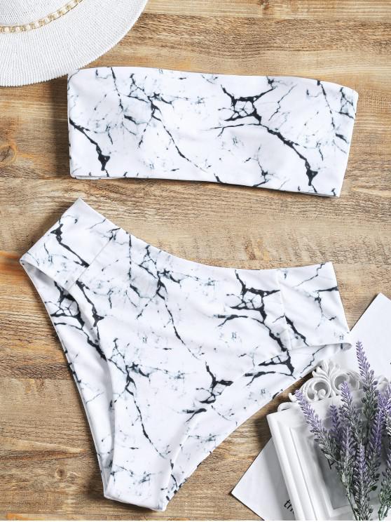 Ensemble de Bikini Bandeau Marbre Imprimé à Taille Haute - Blanc S
