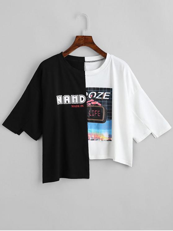 Camiseta Assimétrica com Contraste e Letras - Branco e Preto Um Tamanho