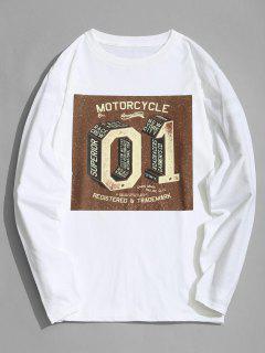 Camiseta De Manga Larga Con Estampado De Motociclista - Blanco Xl