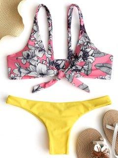 Blumenknoten Enge Hintern Bikini Set - Papaya M