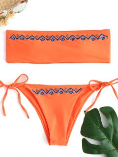 Embroidered Bandeau Bikini Set - Fluorescent Orange M
