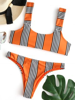 Ensemble Bikini Rembourré à Rayures - Orange M