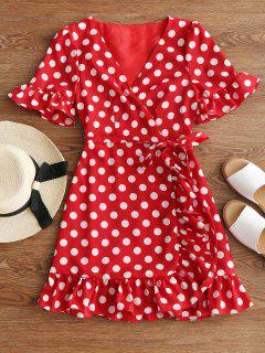 V Neck Polka Dot Ruffle Hem Dress - Red M