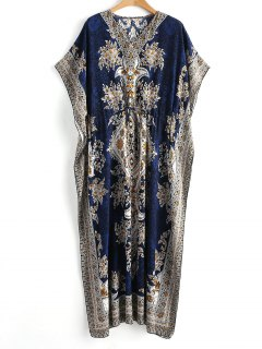 Drawstring Kaftan Bohemian Maxi Dress - Blue S