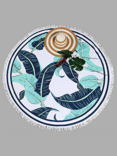 Tropical Leaf Round Beach Towel - White