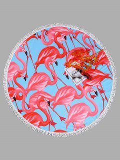Flamingo Tassel Round Beach Towel - Light Blue