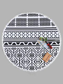 Tassel Geometrical Round Beach Towel - White And Black