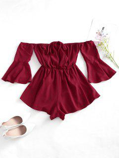 Flare Sleeve Wide Leg Convertible Collar Romper - Deep Red