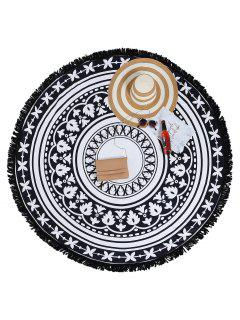 Two Tone Tassel Round Beach Towel - White And Black