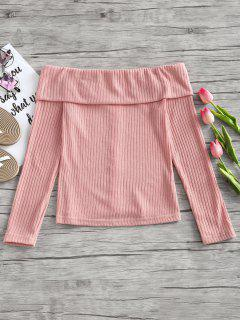 Off Shoulder Ribbed Knitted Top - Pink M