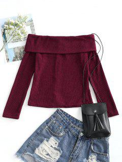 Off Shoulder Ribbed Knitted Top - Wine Red M