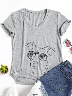 Camiseta Estampada Con Cuello En V Para Perro - Gris S