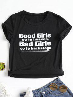Letter Print Round Neck T Shirt - Black Xl