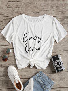 T-shirt Imprimé Lettre à Col Rond - Blanc Xl