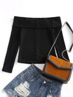 Off Shoulder Ribbed Knitted Top - Black L