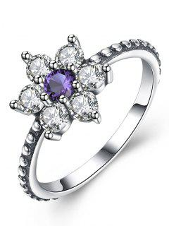Artificial Amethyst Sterling Silver Floral Ring - Silver 9