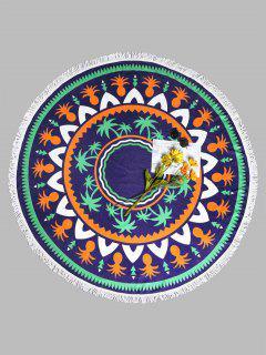 Serviette De Plage Ronde Imprimé Plante Tropicale à Glands - Bleu Violet