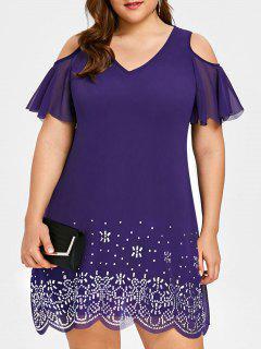 Plus Size Beading Open Shoulder Chiffon Dress - Purple 5xl