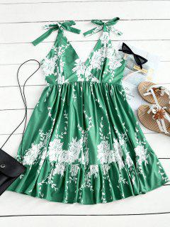 Open Back High Waist Floral Mini Dress - Light Green M