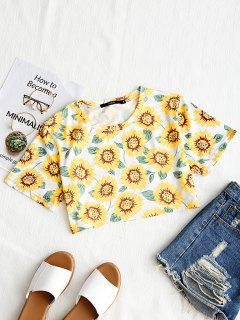 Round Neck Sunflower Print Crop Tee - White And Yellow S