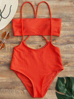 Bandeau Top And High Waisted Slip Bikini Bottoms - Red M