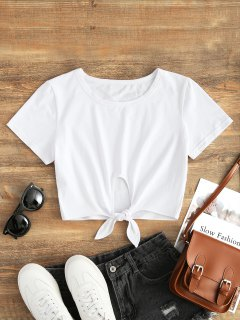 Cotton Tie Cropped Top - White L