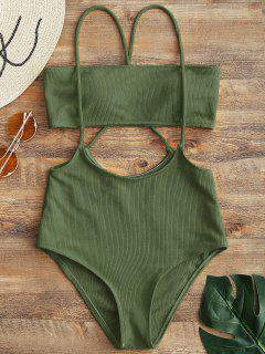 Bandeau Top And High Waisted Slip Bikini Bottoms - Army Green M