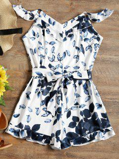 Leaves Print Ruffles Belted Cami Romper - White M