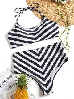 Conjunto De Bikini Halter De Talle Alto Con Cintura Alta - Blanco Y Negro L