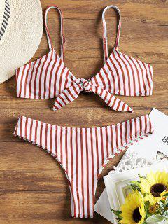 Gepolstertes Vorne Knoten Streifen Bikini-Set - Rot & Weiß S