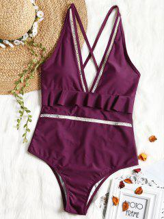 Plunging Neck Ruffles One Piece Swimsuit - Purplish Red S