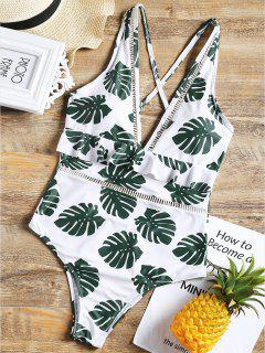 One Piece Low Cut Palm Leaf Swimsuit - White L