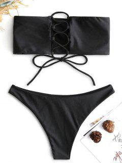 ZAFUL Unlined Back Lace-up Bandeau Bikini Set - Black S