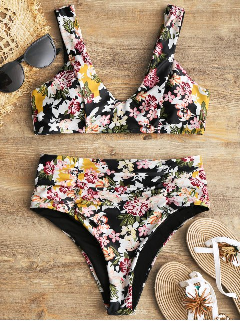 fashion Floral Scrunch High Waisted Bikini Set - FLORAL S Mobile