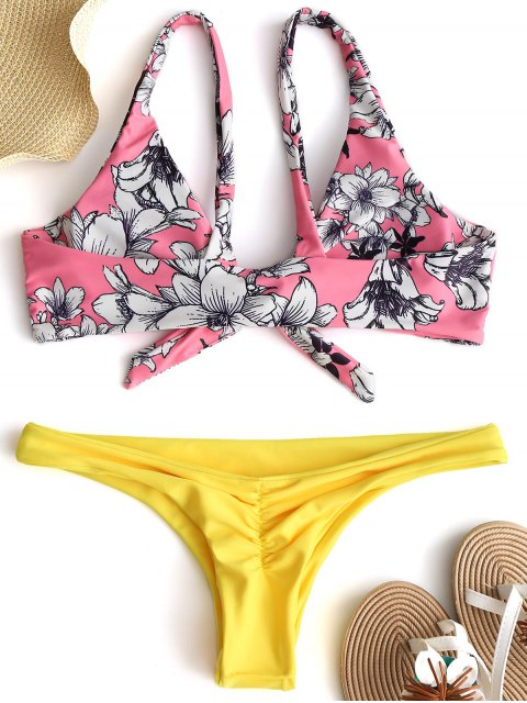 unique Floral Knot Scrunch Butt Bikini Set - PAPAYA M Mobile