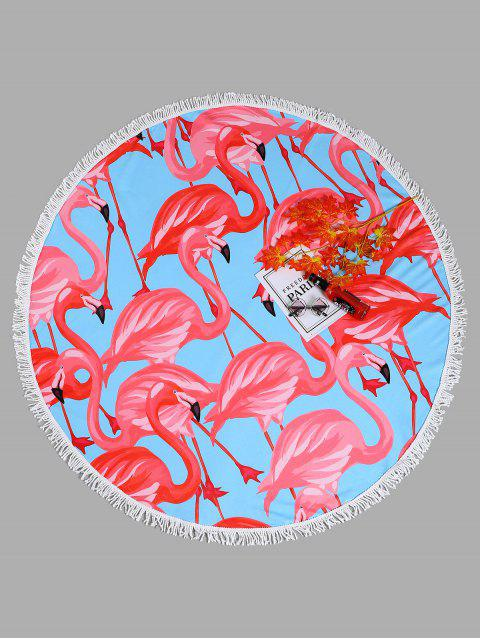 chic Flamingo Tassel Round Beach Towel - LIGHT BLUE ONE SIZE Mobile