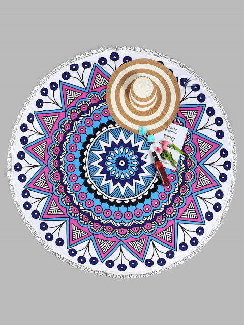 affordable Mandala Round Beach Towel - WHITE ONE SIZE Mobile