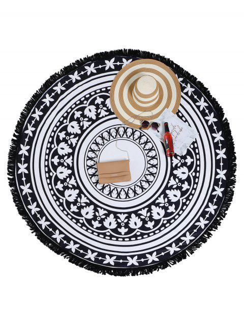 women's Two Tone Tassel Round Beach Towel - WHITE AND BLACK ONE SIZE Mobile