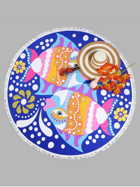best Fish Graphic Tassel Round Beach Towel - ROYAL ONE SIZE Mobile