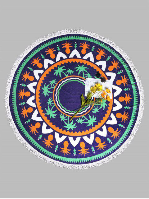 womens Tassel Tropical Plant Round Beach Towel - BLUE VIOLET ONE SIZE Mobile