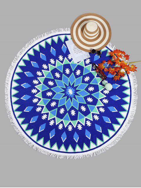 Toalla de playa con dobladillo geométrico - Azul Zafiro Talla única Mobile