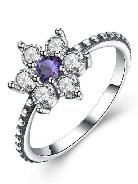 womens Artificial Amethyst Sterling Silver Floral Ring - SILVER 9 Mobile