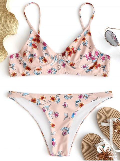 Ensemble Bikini à Armature Imprimé Floral - Rose Abricot S Mobile