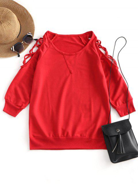 lady Cold Shoulder Criss Cross Tee - RED XL Mobile