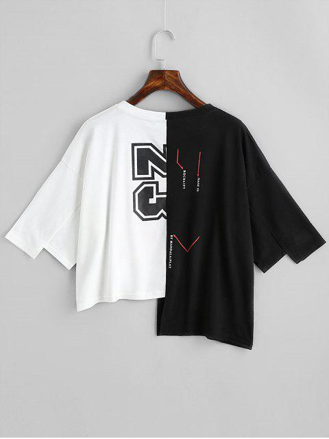 trendy Letter Graphic Contrast Asymmetric Tee - WHITE AND BLACK ONE SIZE Mobile