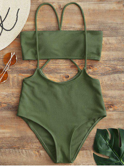 ladies Bandeau Top and High Waisted Slip Bikini Bottoms - ARMY GREEN L Mobile