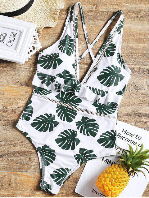 Einteiliger Niedriges Schlitz Palm Blatt Badeanzug - Weiß S Mobile