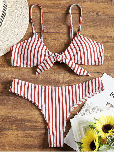 affordable Padded Front Knotted Striped Bikini Set - RED WITH WHITE S Mobile
