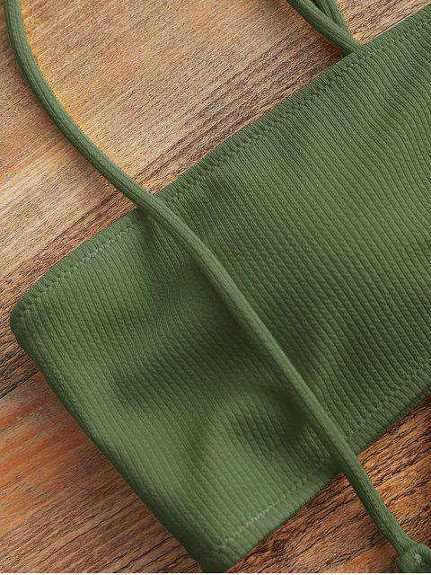 Bandeau Top Und Hohe Taillierter Slip Bikini Badehose - Armeegrün XL Mobile